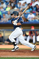 Lake County Captains catcher Eric Haase (13) at bat during a game against the Dayton Dragons on June 7, 2014 at Classic Park in Eastlake, Ohio.  Lake County defeated Dayton 4-3.  (Mike Janes/Four Seam Images)