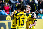 09.02.2019, Signal Iduna Park, Dortmund, GER, 1.FBL, Borussia Dortmund vs TSG 1899 Hoffenheim, DFL REGULATIONS PROHIBIT ANY USE OF PHOTOGRAPHS AS IMAGE SEQUENCES AND/OR QUASI-VIDEO<br /> <br /> im Bild | picture shows:<br /> Raphael Guerreiro (Borussia Dortmund #13) und Mario Goetze (Borussia Dortmund #10) jubeln mit dem Torschützen Jadon Sancho (Borussia Dortmund #7) über dessen Treffer zum 1:0,  <br /> <br /> Foto © nordphoto / Rauch