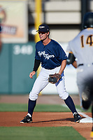 Lakeland Flying Tigers second baseman Chad Sedio (20) during a game against the Bradenton Marauders on April 12, 2018 at Publix Field at Joker Marchant Stadium in Lakeland, Florida.  Bradenton defeated Lakeland 5-4.  (Mike Janes/Four Seam Images)