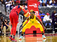 Washington, DC - June 15, 2018: Los Angeles Sparks forward Essence Carson (17) gets back on defense against Washington Mystics guard Natasha Cloud (9) during game between the Washington Mystics and Los Angeles Sparks at the Capital One Arena in Washington, DC. (Photo by Phil Peters/Media Images International)