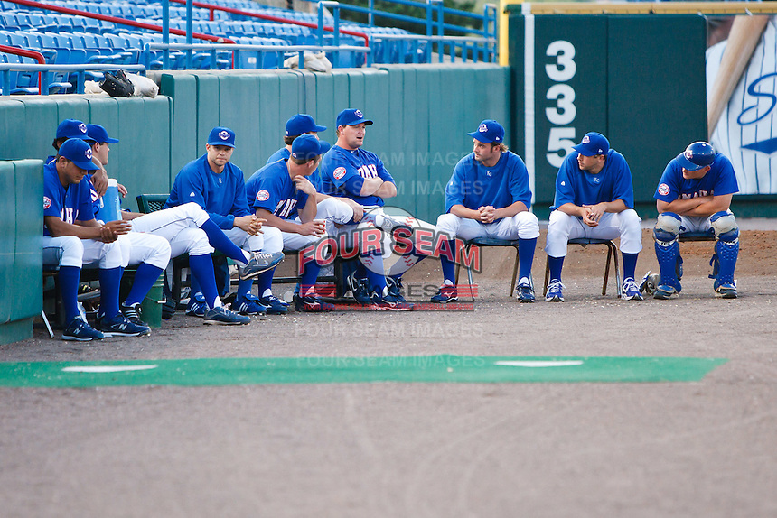 July 2nd, 2010 Omaha Royals having a chat in the bullpen during MiLB play between the Iowa Cubs and the Omaha Royals. Iowa Cubs won 5-3 at Rosenblatt Stadium, Omaha Nebraska.