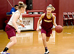 WATERBURY, CT-120618JS06-Sacred Heart senior guard Aamya Rivera, drives to the basket against a teammate wile running plays during practice Thursday at Alumni Hall. <br /> Jim Shannon Republican American