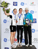Photo: Richard Lane/Richard Lane Photography. GE Parc Bryn Bach Triathlon. 19/09/2010. (lt to rt)  Jodie Stimpson (2nd) of England, Helen Jenkins (1st) of Wales and Kerry Lang (3rd) of Scotland after the Elite womens' race.