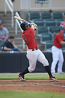 Lenyn Sosa (2) of the Kannapolis Intimidators follows through on his swing against the Hagerstown Suns at Kannapolis Intimidators Stadium on August 27, 2019 in Kannapolis, North Carolina. The Intimidators defeated the Suns 5-4. (Brian Westerholt/Four Seam Images)