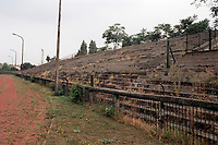 Terracing at BKV Elore SC Football Ground, Sport Utcai Stadium, Budapest, Hungary, pictured on 1st September 1996