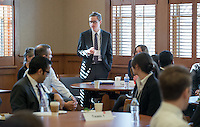 Christopher Weeks '16. Occidental and Scripps College students participate on the final day of The Fullbridge Program's Internship Edge on Jan. 17, 2014 in Dumke Commons of Swan Hall. Students presented their team projects and talked with professionals. The program was hosted by Occidental College in conjunction with Scripps College. 20 students were engaged in the intensive, professionalized, skill-building program which focused on careers in finance, business and entrepreneurship. (Photo by Marc Campos, Occidental College Photographer)