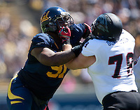 September 8, 2012: California's DeAndre Coleman working his way against Southern Utah's Kyle Donaldson during a game at Memorial Stadium, Berkeley, Ca