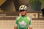 Hoi Ian Au of Macau at sign on for the start of the Women Elite Road Race of the UCI World Championships 2019 running 149.4km from Bradford to Harrogate, England. 28th September 2019.<br /> Picture: Eoin Clarke | Cyclefile<br /> <br /> All photos usage must carry mandatory copyright credit (© Cyclefile | Eoin Clarke)