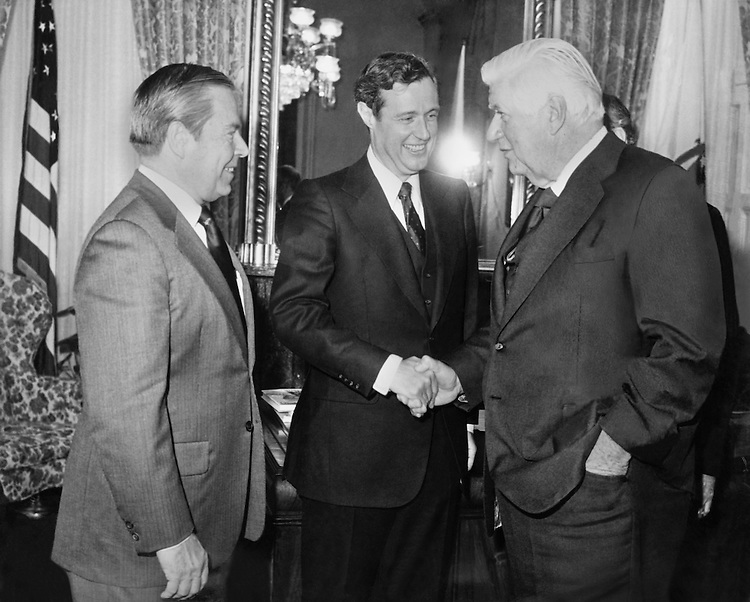 "Speaker of the House, Rep. Thomas Phillip ""Tip"" O'Neill, House Majority Leader, shaking hands with new Congressman,Rep. Sedgwick William ""Bill"" Green, R- N.Y. (Photo by CQ Roll Call)"