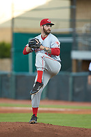 Greeneville Reds relief pitcher A.J. Moore (38) in action against the Pulaski Yankees at Calfee Park on June 23, 2018 in Pulaski, Virginia. The Reds defeated the Yankees 6-5.  (Brian Westerholt/Four Seam Images)
