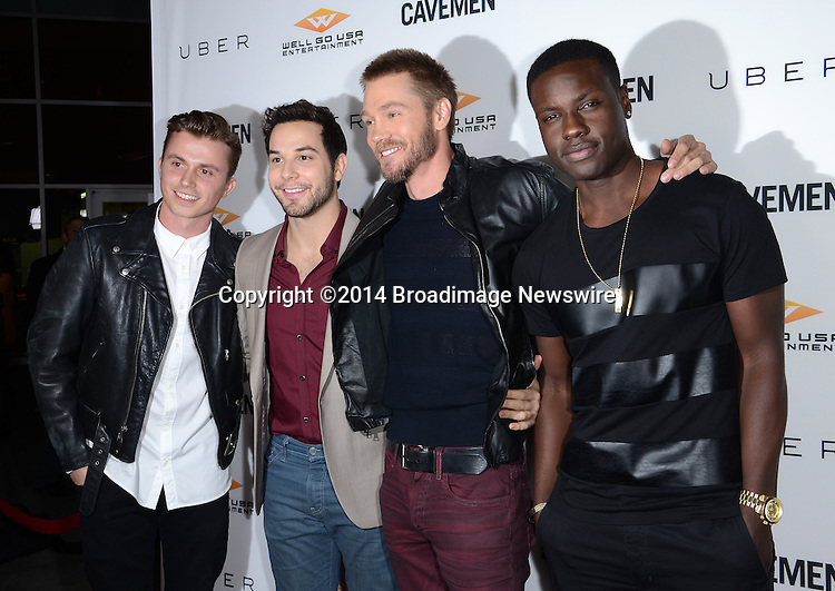 Pictured: Kenny Wormalnd, Skylar Astin, Chad Michael Murray, Dayo Okeniyi<br /> Mandatory Credit: Luiz Martinez / Broadimage<br /> CAVEMAN Los Angeles Premiere<br /> <br /> 2/5/14, Hollywood, California, United States of America<br /> Reference: 020514_LMLA_BDG_041<br /> <br /> sales@broadimage.com<br /> Bus: (310) 301-1027<br /> Fax: (646) 827-9134<br /> http://www.broadimage.com