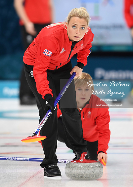 Anna Sloan (GBR) and Kelly Schafer (GBR). Womens Curling training. Pyeongchang2018 winter Olympics Gangneung curling centre. Gangneung. Republic of Korea. 12/02/2018. ~ MANDATORY CREDIT Garry Bowden/SIPPA - NO UNAUTHORISED USE - +44 7837 394578