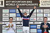 10th September 2017, Smithfield Forest, Cairns, Australia; UCI Mountain Bike World Championships; Loic Bruni (FRA) riding for Specialized Gravity celebrates on the podium after winning the the elite mens downhill race;