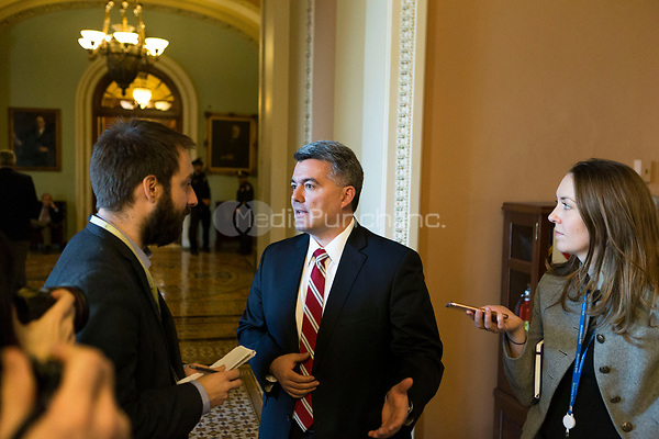 Chair of the National Republican Senatorial Committee, US Senator Cory Gardner (Republican of Colorado) speaks with reporters outside the US Senate chamber after a procedural vote in Washington, D.C. on Friday, December 1, 2017. <br /> Credit: Alex Edelman / CNP /MediaPunch