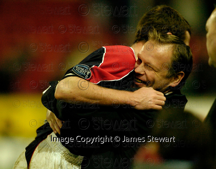 16/12/2006       Copyright Pic: James Stewart.File Name :sct_jspa10_falkirk_v_hibernian.JOHN HUGHES AND PATRICK CREGG CELEBRATE AT THE END.....James Stewart Photo Agency 19 Carronlea Drive, Falkirk. FK2 8DN      Vat Reg No. 607 6932 25.Office     : +44 (0)1324 570906     .Mobile   : +44 (0)7721 416997.Fax         : +44 (0)1324 570906.E-mail  :  jim@jspa.co.uk.If you require further information then contact Jim Stewart on any of the numbers above.........