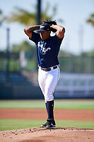 Lakeland Flying Tigers starting pitcher Gregory Soto (30) gets ready to deliver a pitch during the first game of a doubleheader against the Bradenton Marauders on April 11, 2018 at Publix Field at Joker Marchant Stadium in Lakeland, Florida.  Lakeland defeated Bradenton 5-4.  (Mike Janes/Four Seam Images)