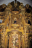 Cusco, Peru. Ornate baroque gilt altar piece in San Blas church.