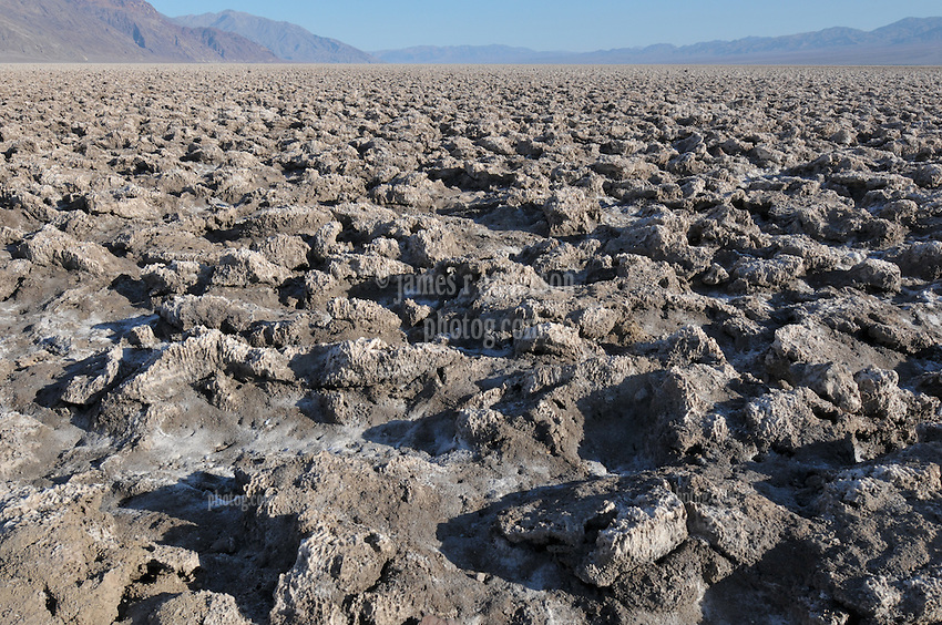Devils Golf Course in Death Valley National Park, California. Salt formations, Salt beds.