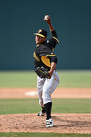 Pittsburgh Pirates pitcher Miguel Rosario (38) during a minor league spring training game against the Toronto Blue Jays on March 21, 2015 at Pirate City in Bradenton, Florida.  (Mike Janes/Four Seam Images)
