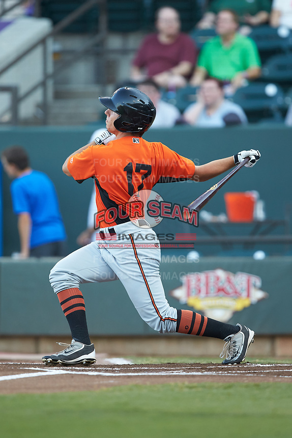 T.J. Nichting (17) of the Frederick Keys follows through on his swing against the Winston-Salem Dash at BB&T Ballpark on July 26, 2018 in Winston-Salem, North Carolina. The Keys defeated the Dash 6-1. (Brian Westerholt/Four Seam Images)