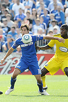 Josh Wolff (blue), Andy Iro...Kansas City Wizards were defeated 1-0 by Columbus Crew at Community America Ballpark, Kansas City, Kansas...Kansas City Wizards were defeated 1-0 by Columbus Crew at Community America Ballpark, Kansas City, Kansas.