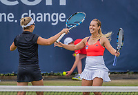 Den Bosch, Netherlands, 17 June, 2017, Tennis, Ricoh Open,  Woman's doubles Final : Dominika Cibulkova (SVK) / Kirsten Flipkens (BEL) (L) celebrating  matchpoint<br /> Photo: Henk Koster/tennisimages.com