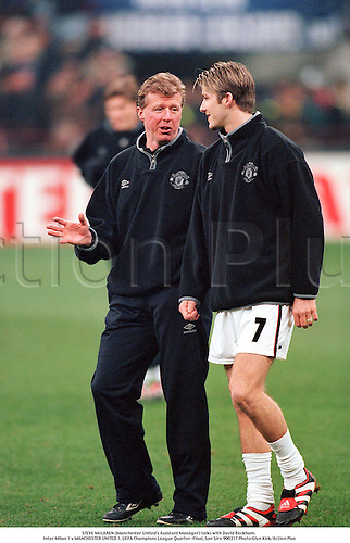 STEVE McLAREN (Manchester United's Assistant Manager) talks with David Beckham. Inter Milan 1 v MANCHESTER UNITED 1, UEFA Champions League Quarter-Final, San Siro 990317 Photo:Glyn Kirk/Action Plus...1999.Soccer.Coaches.football.mangers.association.coach.premiership premier league.club clubs