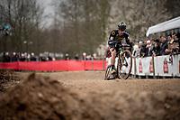 Lars van der Haar (NED/Telenet Baloise Lions) over the dirt pump track<br /> <br /> Elite + U23 Men's Race<br /> CX GP Leuven (BEL) 2020<br />  <br /> ©kramon