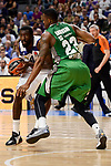 Real Madrid's Othello Hunter and Darussafaka Dogus's James Anderson during quarter final of Turkish Airlines Euroleague match between Real Madrid and Darussafaka Dogus at Wizink Center in Madrid, April 20, 2017. Spain.<br /> (ALTERPHOTOS/BorjaB.Hojas)