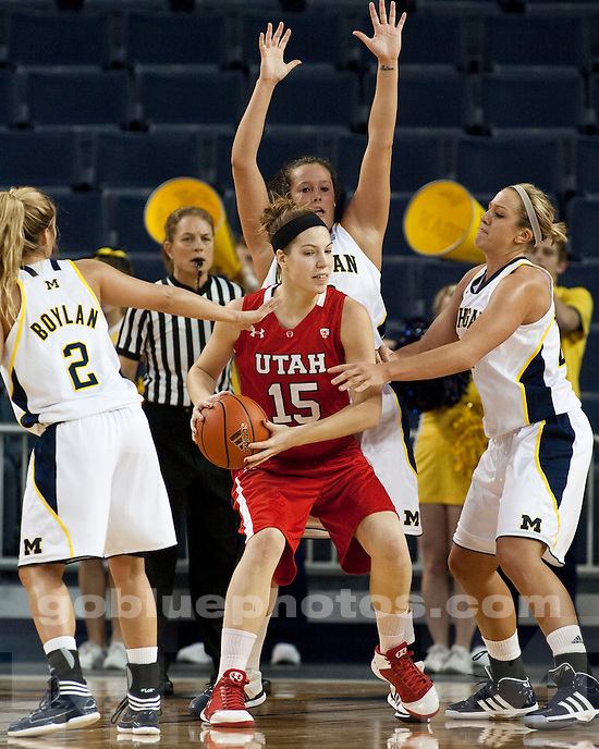The University of Michigan women's basketball team beat Utah, 55-50, at Crisler Arena in Ann Arbor, Mich., on November 17, 2011.