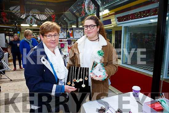 Kathleen ONeill (the Soap Lady, Killorglin) with Almudena Herraec, at the Recovery Haven Kerry Christmas Craft Fair in Tralee Shopping Centre on Saturday.