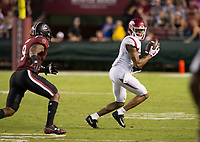 Hawgs Illustrated/BEN GOFF <br /> Jonathan Nance, Arkansas wide receiver, catches a pass under defense from Keisean Nixon, South Carolina safety, in the fourth quarter Saturday, Oct. 7, 2017, at Williams-Brice Stadium in Columbia, S.C.