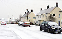 Hertfordshire - Snow scenes in Hertfordshire. Pictured - Residential street covered with snow in Hitchin - January 18th 2012..Photo by Keith Mayhew