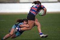 Jayden Falcon breaks a tackle on her way to the tryline during the 2019 Manawatu premier women's club rugby Prue Christie Cup final match between Feilding Old Boys Oroua and Kia Toa at CET Arena in Palmerston North, New Zealand on Saturday, 13 July 2019. Photo: Dave Lintott / lintottphoto.co.nz