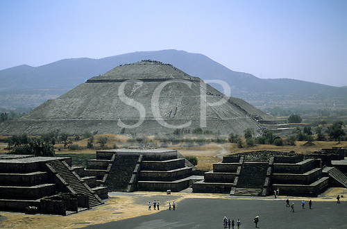 Teotihuacan, Mexico. The Temple of the Sun and the Plaza of the Moon; pre-Columbian city. Temples, tourists walking.