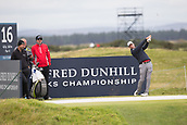 3rd October 2017, The Old Course, St Andrews, Scotland; Alfred Dunhill Links Championship, practice round; Bradley Dredge of Wales tees off on the sixteenth hole during a practice round on the Old Course, St Andrews before the Alfred Dunhill Links Championship