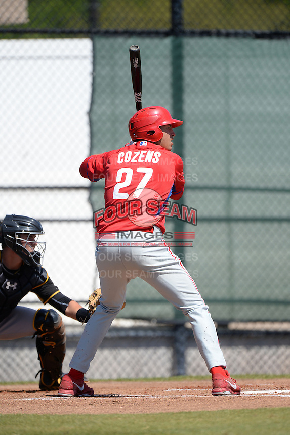 Philadelphia Phillies outfielder Dylan Cozens (27) during a minor league spring training game against the Pittsburgh Pirates on March 18, 2014 at the Carpenter Complex in Clearwater, Florida.  (Mike Janes/Four Seam Images)