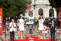 Alejandro Valverde with the white jersey celebrates with his son the victory in the Overall Allround Standing of La Vuelta 2012.September 9,2012. (ALTERPHOTOS/Acero)