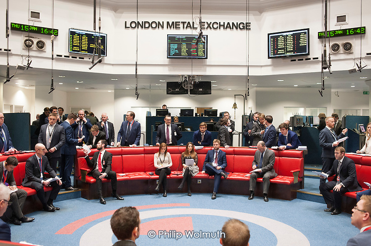 Last trading session of the day on the floor of the London Metal Exchange, on a day of high price volatility.  The LME is the last remaining floor in the City of London to trade using open outcry.