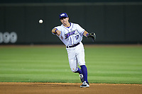 Winston-Salem Dash second baseman Danny Mendick (17) makes a throw to first base against the Buies Creek Astros at BB&T Ballpark on April 15, 2017 in Winston-Salem, North Carolina.  The Astros defeated the Dash 13-6.  (Brian Westerholt/Four Seam Images)