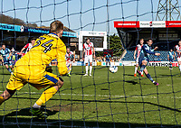 Joe Jacobson of Wycombe Wanderers scores from the penalty spot during the Sky Bet League 2 match between Wycombe Wanderers and Cheltenham Town at Adams Park, High Wycombe, England on the 8th April 2017. Photo by Liam McAvoy.