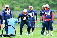 June 7, 2017: New England Patriots defensive lineman Darlus Kilgo (96)  works with a tackle dummy at the New England Patriots mini camp held on the practice field at Gillette Stadium, in Foxborough, Massachusetts. Eric Canha/CSM