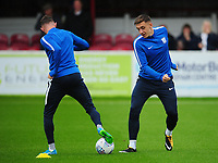 Preston North End's Jordan Hugill during the pre-match warm-up <br /> <br /> Photographer Kevin Barnes/CameraSport<br /> <br /> The Carabao Cup - Accrington Stanley v Preston North End - Tuesday 8th August 2017 - Crown Ground - Accrington<br />  <br /> World Copyright &copy; 2017 CameraSport. All rights reserved. 43 Linden Ave. Countesthorpe. Leicester. England. LE8 5PG - Tel: +44 (0) 116 277 4147 - admin@camerasport.com - www.camerasport.com
