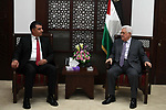 Palestinian President Mahmoud Abbas meets with Jordanian Minister of Agriculture, at his headquarter, in the West Bank city of Ramallah, on August 16, 2017. Photo by Thaer Ganaim