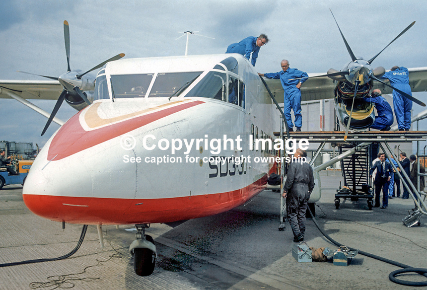 A Short SD3-30 being prepared at Belfast Harbour Airport, N Ireland, for its maiden flight on 22nd August 1974. Described by the manufacturer as a luxury commuter aircraft it will carry 30 passengers plus crew. 197408220453a<br /> <br /> Copyright Image from Victor Patterson, 54 Dorchester Park, <br /> Belfast, UK, BT9 6RJ<br /> <br /> t1: +44 28 9066 1296 (from Rep of Ireland 048 9066 1296)<br /> t2: +44 28 9002 2446 (from Rep of Ireland 048 9002 2446)<br /> m: +44 7802 353836<br /> <br /> e1: victorpatterson@me.com<br /> e2: victorpatterson@gmail.com<br /> www.victorpatterson.com<br /> <br /> Please see my Terms and Conditions of Use at www.victorpatterson.com. It is IMPORTANT that you familiarise yourself with them.<br /> <br /> Images used on the Internet must be visibly watermarked i.e. &copy; Victor Patterson<br /> within the body of the image and copyright metadata must not be deleted. Images <br /> used on the Internet have a size restriction of 4kbs and will be chargeable at current<br />  NUJ rates unless agreed otherwise.<br /> <br /> This image is only available for the use of the download recipient i.e. television station, newspaper, magazine, book publisher, etc, and must not be passed on to any third <br /> party. It is also downloaded on condition that each and every usage is notified within 7 days to victorpatterson@me.com<br /> <br /> The right of Victor Patterson to be identified as the author is asserted in accordance with The Copyright Designs And Patents Act (1988).