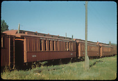A string of outfit coaches at Ridgway, #0256, #0252 and #0260.<br /> RGS  Ridgway, CO  Taken by Kindig, Richard H. - 6/7/1951