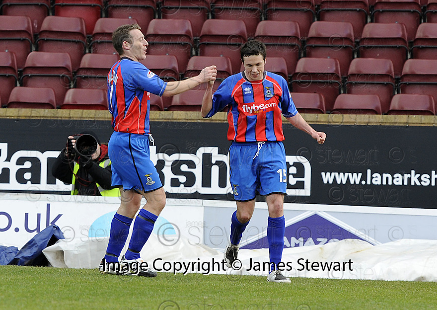 05/04/2008    Copyright Pic: James Stewart.File Name : sct_jspa12_gretna_v_inverness.DON COWIE IS CONGRATULATED BY BARRY WILSON AFTER HE SCORES THE SECOND..James Stewart Photo Agency 19 Carronlea Drive, Falkirk. FK2 8DN      Vat Reg No. 607 6932 25.Studio      : +44 (0)1324 611191 .Mobile      : +44 (0)7721 416997.E-mail  :  jim@jspa.co.uk.If you require further information then contact Jim Stewart on any of the numbers above........