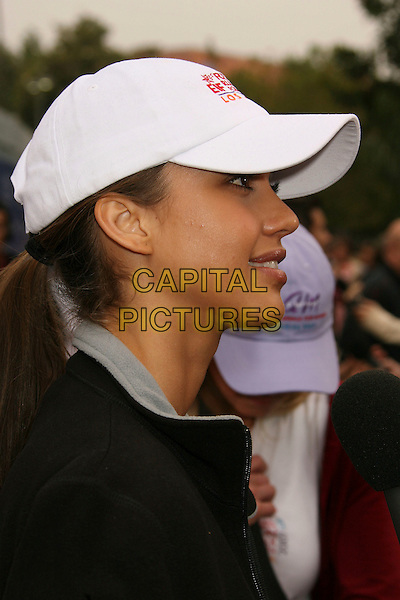 JESSICA ALBA.14th Annual Entertainment Industry Foundation Revlon Run/Walk For Women held at The Los Angeles Memorial Coliseum, Los Angeles, California, USA,.12 May 2007..portrait headshot cap hat profile white.CAP/ADM/RE.©Russ Elliot/AdMedia/Capital Pictures.
