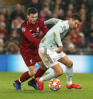 Bayern Munich's Robert Lewandowski shields the ball from Liverpool's Andrew Robertson<br /> <br /> Photographer Rich Linley/CameraSport<br /> <br /> UEFA Champions League Round of 16 First Leg - Liverpool and Bayern Munich - Tuesday 19th February 2019 - Anfield - Liverpool<br />  <br /> World Copyright © 2018 CameraSport. All rights reserved. 43 Linden Ave. Countesthorpe. Leicester. England. LE8 5PG - Tel: +44 (0) 116 277 4147 - admin@camerasport.com - www.camerasport.com