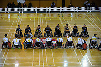 The teams line up before the 2017 International Wheelchair Rugby Federation Asia-Oceania Zone Championships tournament bronze final match between the New Zealand Wheel Blacks and Korea at ASB Stadium in Auckland, New Zealand on Thursday, 31 August 2017. Photo: Dave Lintott / lintottphoto.co.nz